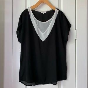 Pleione Sheer Cap Sleeve Black and White Blouse